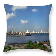 Castillo El Morro Havana Cuba Skyline Throw Pillow