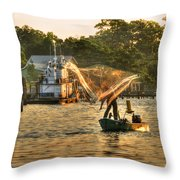 Casting From Boat Throw Pillow