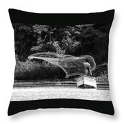 Casting On Lake Nicaragua Throw Pillow