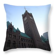 Castle And Clock Tower Throw Pillow