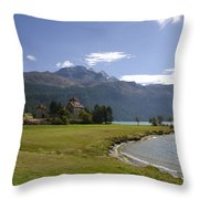 Castle And Mountain Throw Pillow
