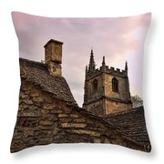 Sunset At Castle Comb Church - Wilshire England Throw Pillow