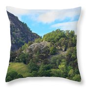 Castle Crag In Borrowdale Throw Pillow