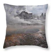 Castle Geyser In Winter Throw Pillow