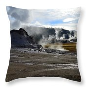 Castle Geyser In Yellowstone National Park Throw Pillow