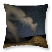 Castle Geyser With Milky Way In Lower Throw Pillow