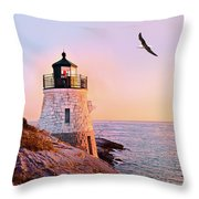 Castle Hill Lighthouse 2 Newport Throw Pillow