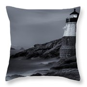 Castle Hill Lighthouse Bw Throw Pillow