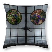Castle In The Clouds Stained Glass To Winnipesaukee - Greeting Card Throw Pillow
