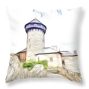 castle of the holy order - Sovinec castle Throw Pillow