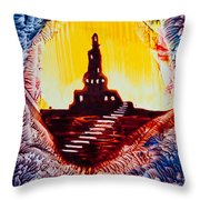 Castle Rock Silhouette Painting In Wax Throw Pillow