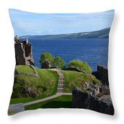 Castle Ruins On Loch Ness Throw Pillow