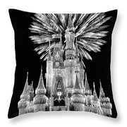 Castle With Fireworks In Black And White Walt Disney World Throw Pillow