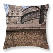 Castle With Poppies Throw Pillow