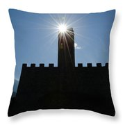 Castle With Sun Throw Pillow
