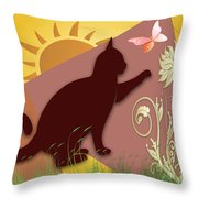 Cat And Butterfly Throw Pillow