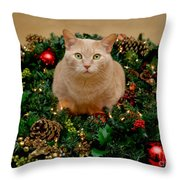 Cat And Christmas Wreath Throw Pillow