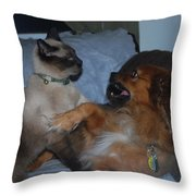Cat And Dog Fight Throw Pillow