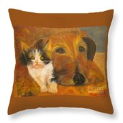 Cat And Dog Original Oil Painting  Throw Pillow
