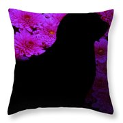 Cat And Flowers Midnight Silhouette Throw Pillow