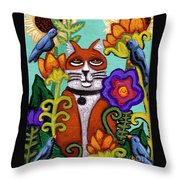 Cat And Four Birds Throw Pillow