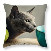 Cat And Pears Throw Pillow by Nailia Schwarz