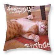 Cat Birthday Card Throw Pillow