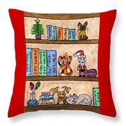 Cat Chrismas Shelves Throw Pillow