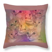 Cat Collage Throw Pillow