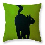 Cat Dance In Green Throw Pillow