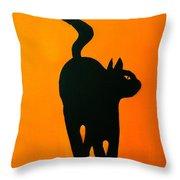 Cat Dance In Orange Throw Pillow