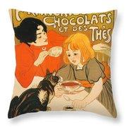 Cat Enjoys Chocolates And Tea Throw Pillow