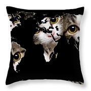 Cat Eyes World Map 2 Throw Pillow by Andee Design