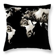 Cat Eyes World Map Throw Pillow by Andee Design