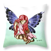 Cat Fairy In Blue  Throw Pillow