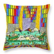 Cat Family - In The City Throw Pillow