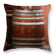 Cat Guarding A Wine Barrel In Alsace Throw Pillow
