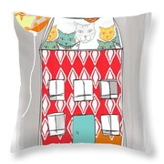 Cat House Throw Pillow