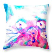Think About The Cat In Blue Throw Pillow