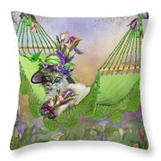 Cat In Calla Lily Hat Throw Pillow