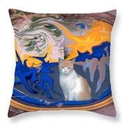 Cat In Doorway Fantasy Throw Pillow