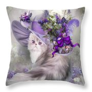 Cat In Easter Lilac Hat Throw Pillow