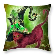 Cat In Fancy Witch Hat 2 Throw Pillow
