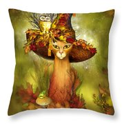 Cat In Fancy Witch Hat 3 Throw Pillow