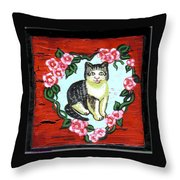 Cat In Heart Wreath 1 Throw Pillow