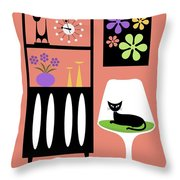 Cat In Pink Room Throw Pillow