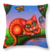 Cat In Reflection Throw Pillow