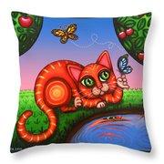 Cat In Reflection Throw Pillow by Victoria De Almeida