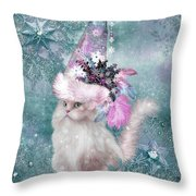 Cat In Snowflake Hat Throw Pillow