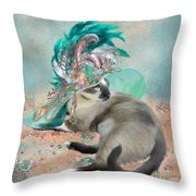 Cat In Summer Beach Hat Throw Pillow